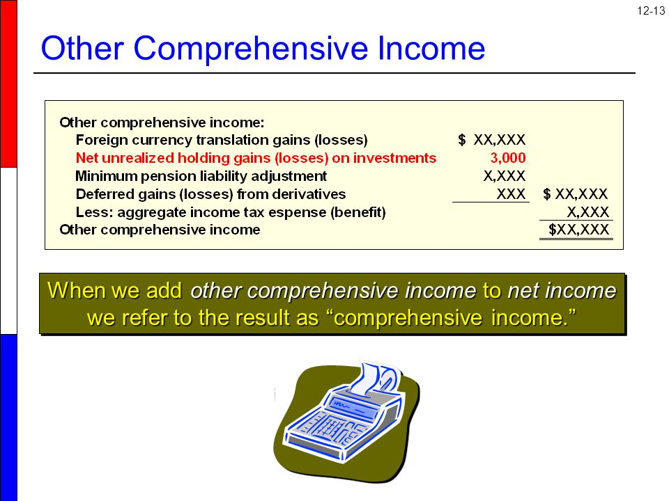 12-13 Other Comprehensive Income When we add other comprehensive income to net income we refer to the result as comprehensive income.