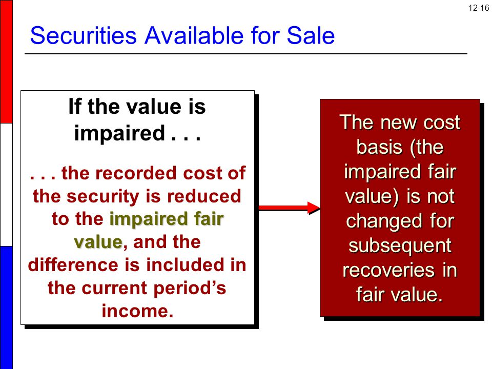 12-16 Securities Available for Sale The new cost basis (the impaired fair value) is not changed for subsequent recoveries in fair value.