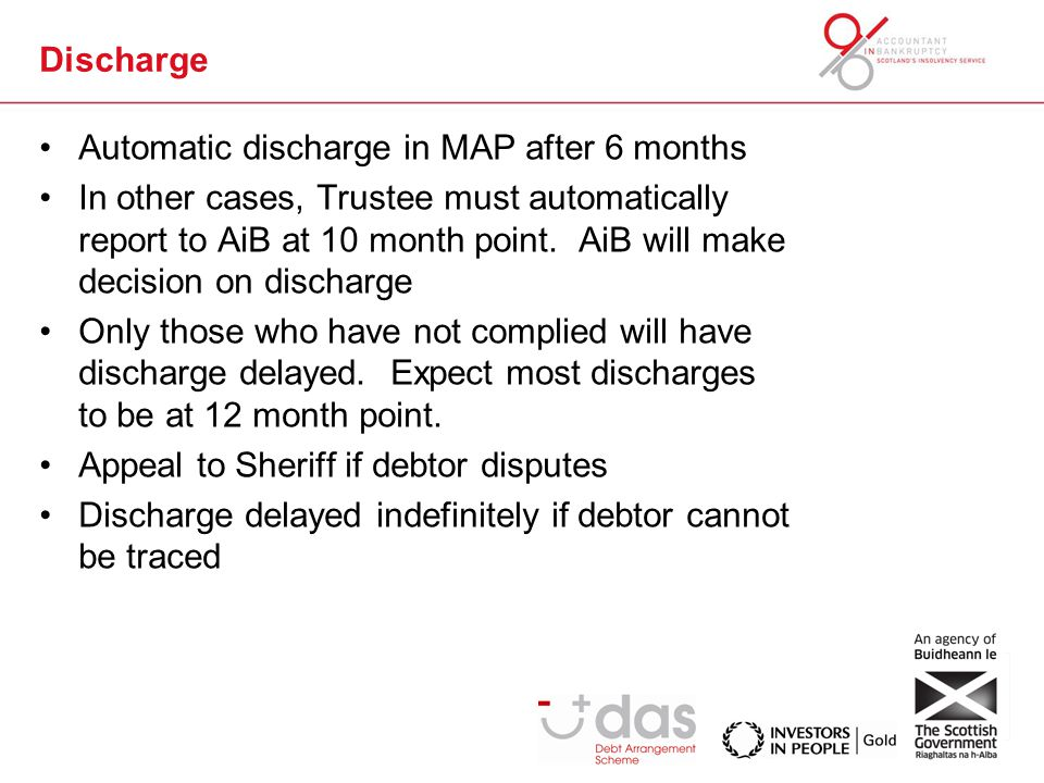 Discharge Automatic In MAP After 6 Months Other Cases Trustee Must Automatically Report