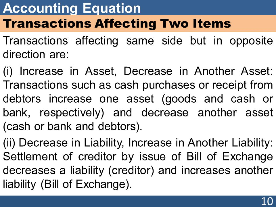 Accounting Equation Transactions Affecting Two Items Transactions affecting same side but in opposite direction are: (i) Increase in Asset, Decrease in Another Asset: Transactions such as cash purchases or receipt from debtors increase one asset (goods and cash or bank, respectively) and decrease another asset (cash or bank and debtors).