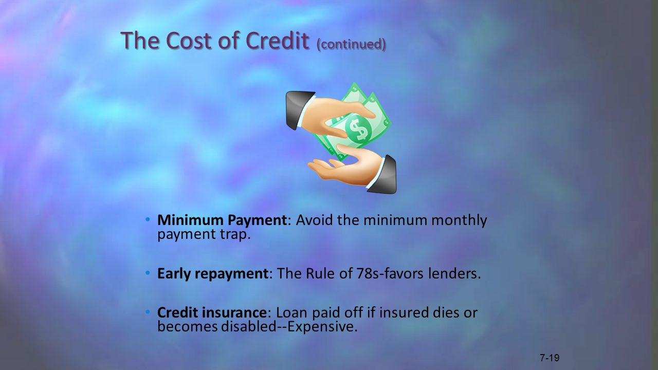 The Cost of Credit (continued) Minimum Payment: Avoid the minimum monthly payment trap.