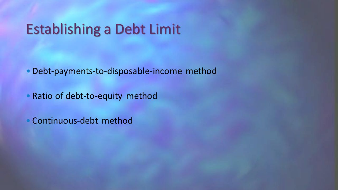 Debt-payments-to-disposable-income method Ratio of debt-to-equity method Continuous-debt method Establishing a Debt Limit