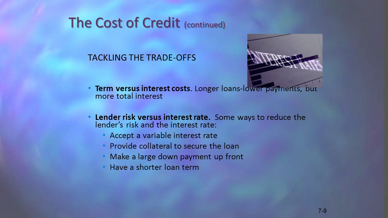 The Cost of Credit (continued) TACKLING THE TRADE-OFFS Term versus interest costs.