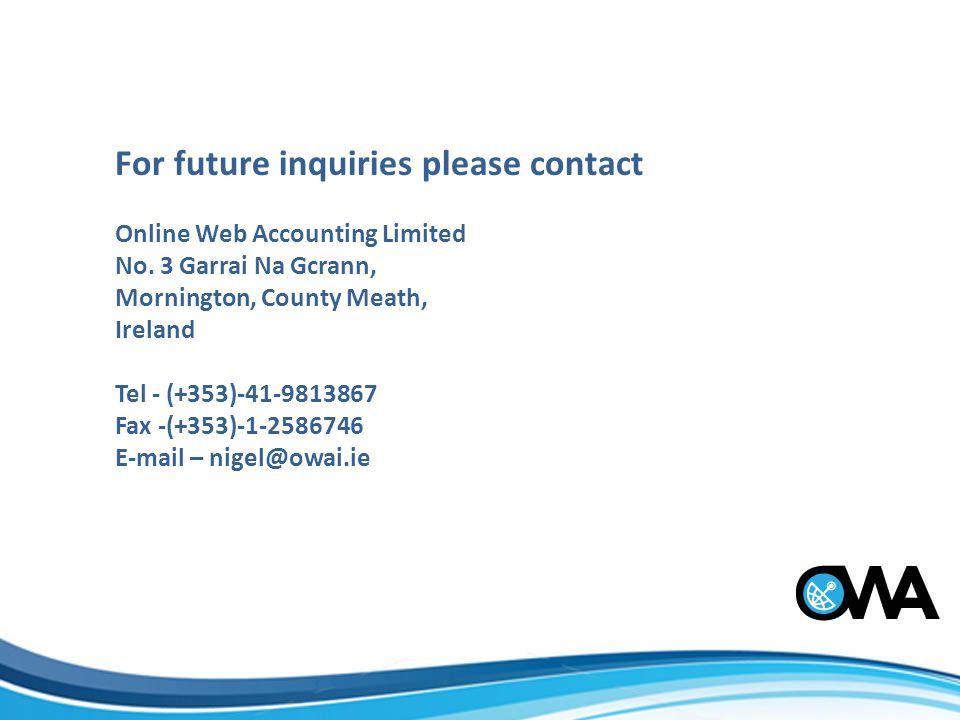 For future inquiries please contact Online Web Accounting Limited No.