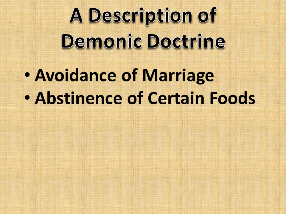 Avoidance of Marriage Abstinence of Certain Foods