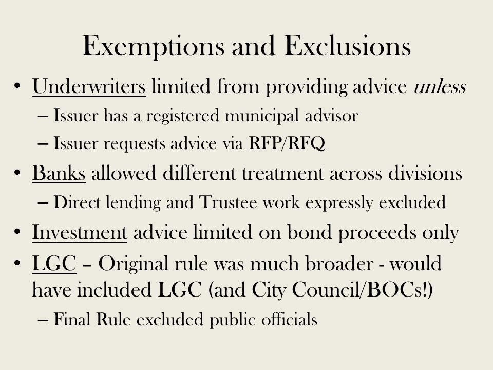 SEC RULES FOR MUNICIPAL ADVISORS NC Local Government