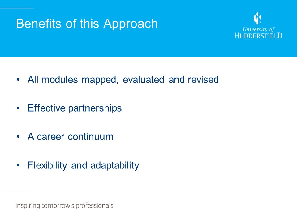 Benefits of this Approach All modules mapped, evaluated and revised Effective partnerships A career continuum Flexibility and adaptability