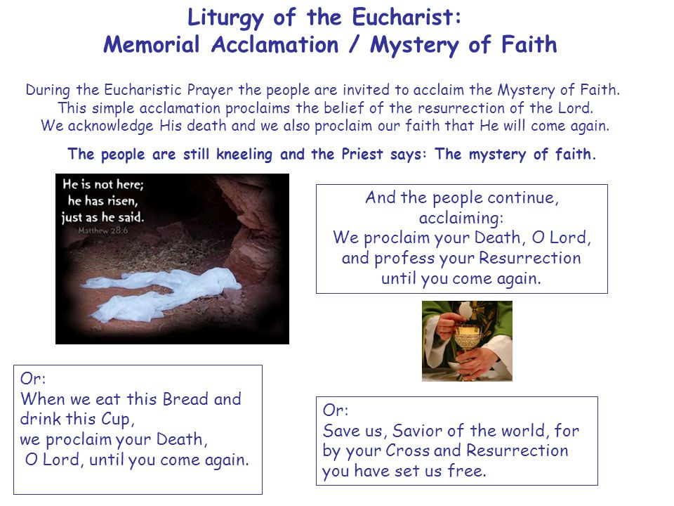 Liturgy of the Eucharist: Memorial Acclamation / Mystery of Faith During the Eucharistic Prayer the people are invited to acclaim the Mystery of Faith.