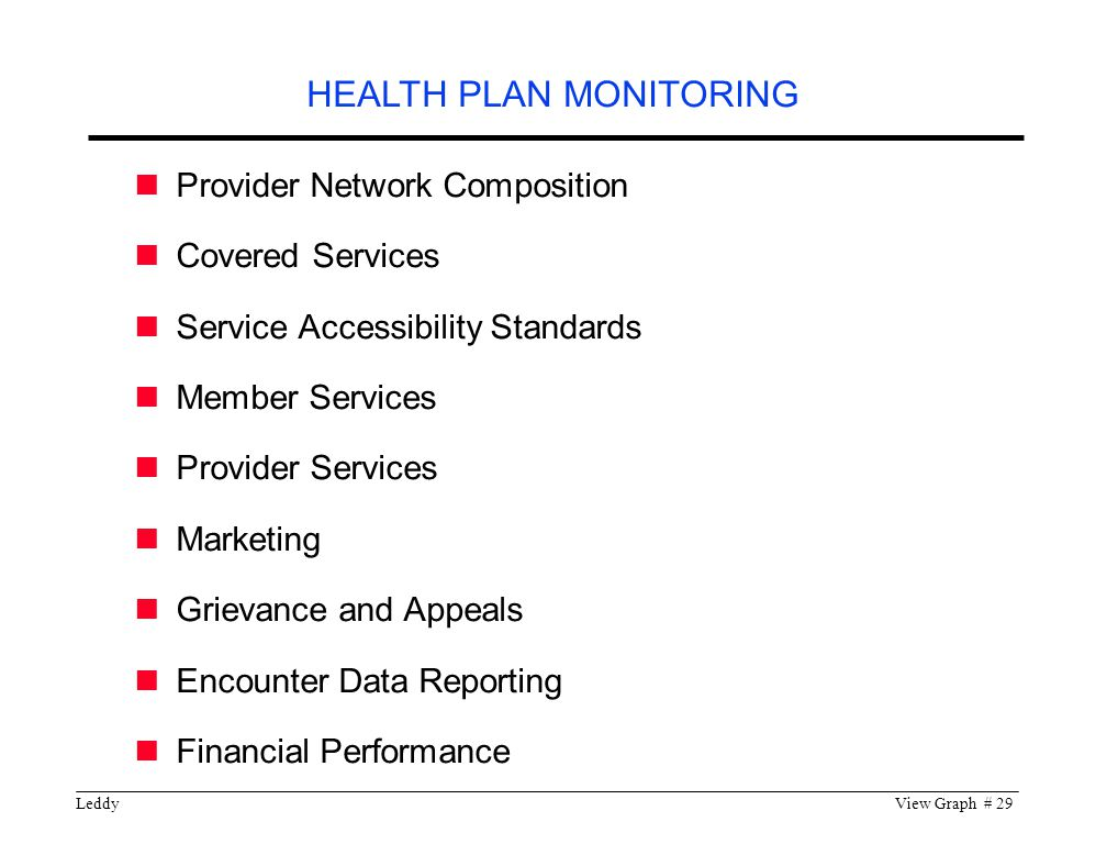 LeddyView Graph # 29 Provider Network Composition Covered Services Service Accessibility Standards Member Services Provider Services Marketing Grievance and Appeals Encounter Data Reporting Financial Performance HEALTH PLAN MONITORING