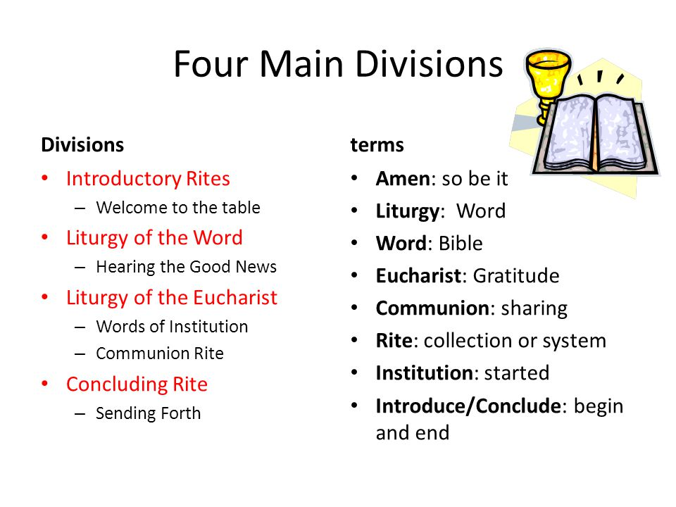 Four Main Divisions Divisions Introductory Rites – Welcome to the table Liturgy of the Word – Hearing the Good News Liturgy of the Eucharist – Words of Institution – Communion Rite Concluding Rite – Sending Forth terms Amen: so be it Liturgy: Word Word: Bible Eucharist: Gratitude Communion: sharing Rite: collection or system Institution: started Introduce/Conclude: begin and end