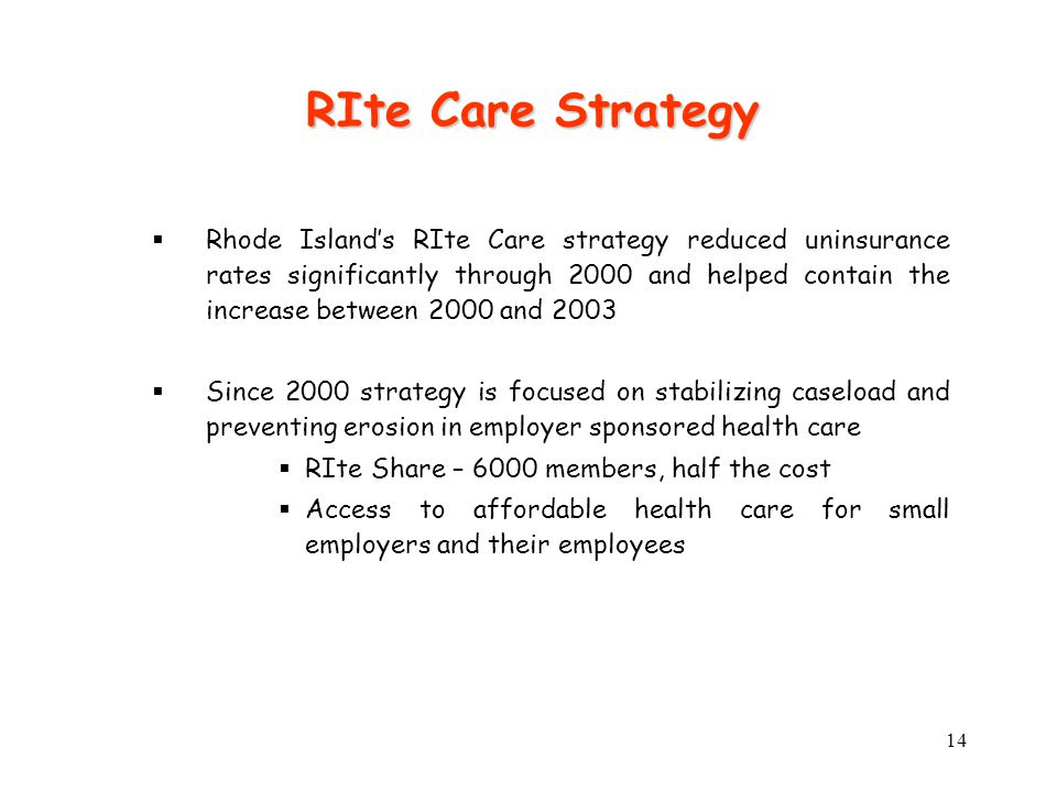 14  Rhode Island's RIte Care strategy reduced uninsurance rates significantly through 2000 and helped contain the increase between 2000 and 2003  Since 2000 strategy is focused on stabilizing caseload and preventing erosion in employer sponsored health care  RIte Share – 6000 members, half the cost  Access to affordable health care for small employers and their employees RIte Care Strategy