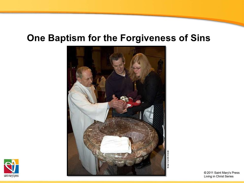One Baptism for the Forgiveness of Sins Image in public domain