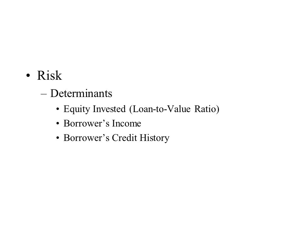 Risk –Determinants Equity Invested (Loan-to-Value Ratio) Borrower's Income Borrower's Credit History