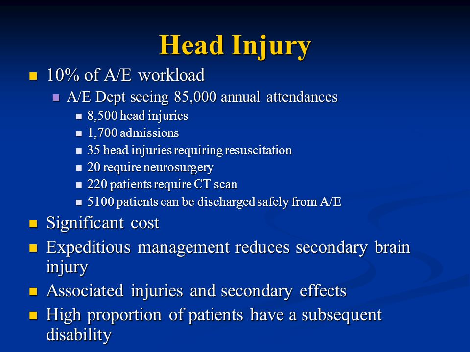 Head Injury 10% of A/E workload 10% of A/E workload A/E Dept seeing 85,000 annual attendances A/E Dept seeing 85,000 annual attendances 8,500 head injuries 8,500 head injuries 1,700 admissions 1,700 admissions 35 head injuries requiring resuscitation 35 head injuries requiring resuscitation 20 require neurosurgery 20 require neurosurgery 220 patients require CT scan 220 patients require CT scan 5100 patients can be discharged safely from A/E 5100 patients can be discharged safely from A/E Significant cost Significant cost Expeditious management reduces secondary brain injury Expeditious management reduces secondary brain injury Associated injuries and secondary effects Associated injuries and secondary effects High proportion of patients have a subsequent disability High proportion of patients have a subsequent disability
