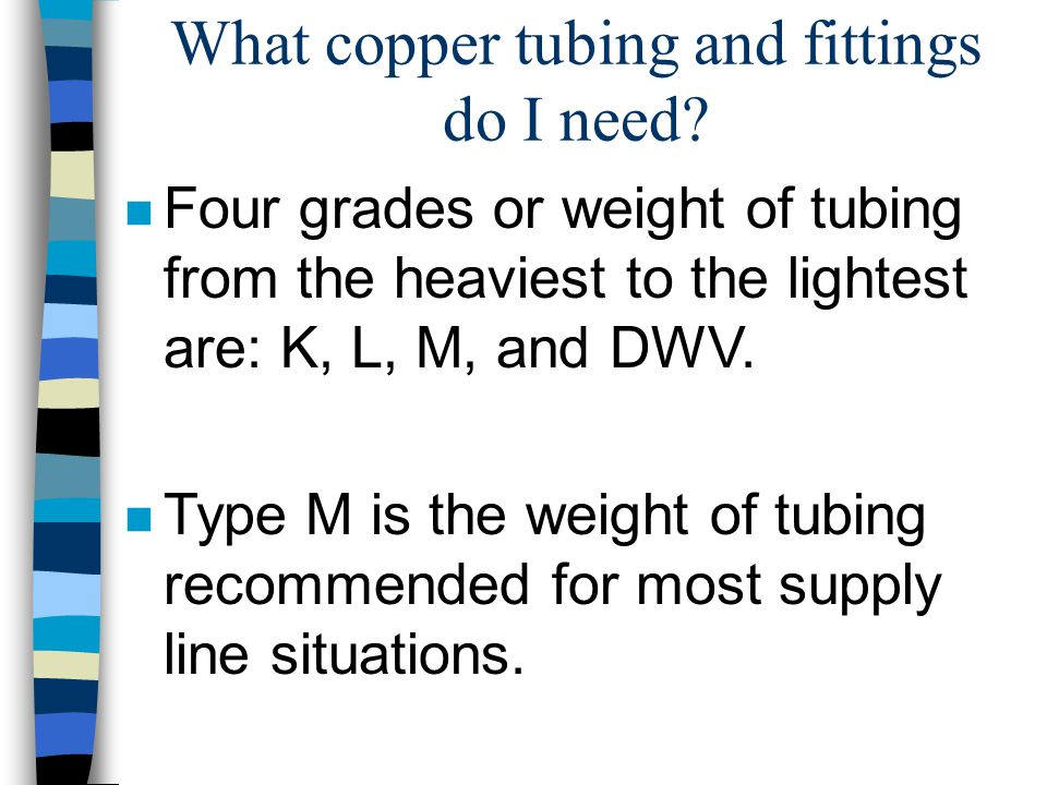 What copper tubing and fittings do I need.