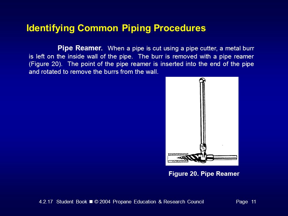 Student Book © 2004 Propane Education & Research CouncilPage 11 Identifying Common Piping Procedures Figure 20.