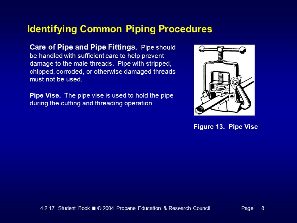 Student Book © 2004 Propane Education & Research CouncilPage 8 Identifying Common Piping Procedures Figure 13.