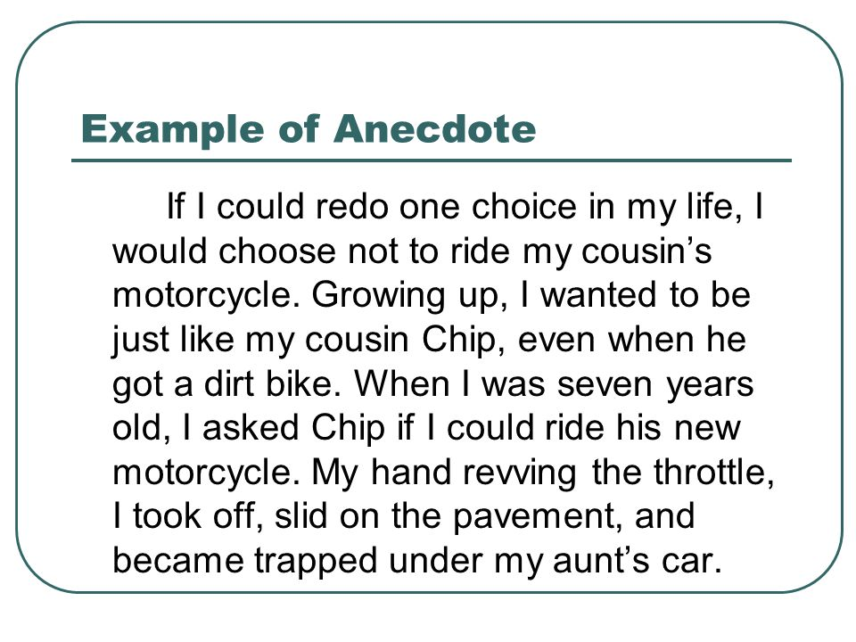 Using An Anecdote In Introductory Paragraph Please Put The Date