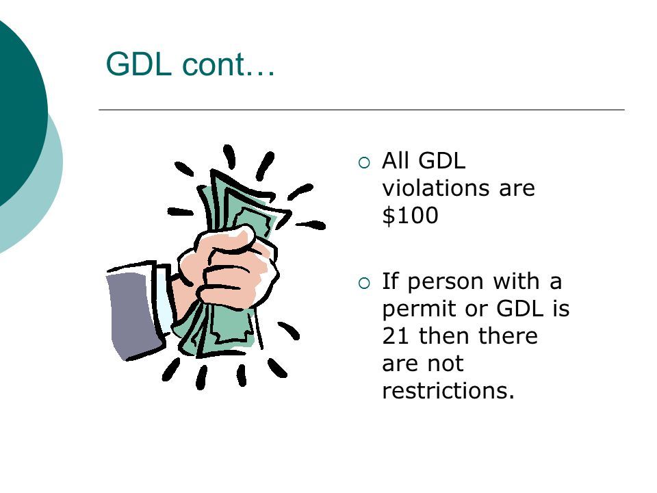GDL cont…  All GDL violations are $100  If person with a permit or GDL is 21 then there are not restrictions.