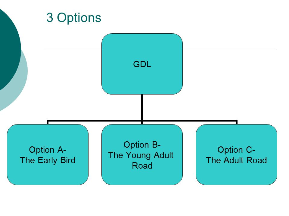 3 Options GDL Option A- The Early Bird Option B- The Young Adult Road Option C- The Adult Road