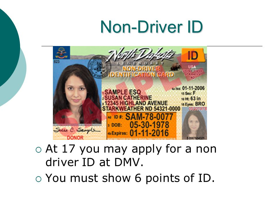 Non-Driver ID  At 17 you may apply for a non driver ID at DMV.  You must show 6 points of ID.
