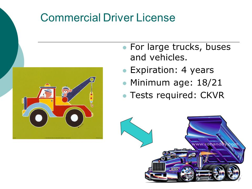 Commercial Driver License For large trucks, buses and vehicles.