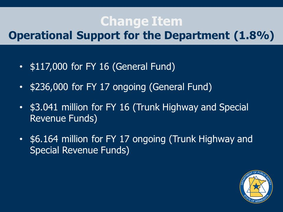 Change Item Operational Support for the Department (1.8%) $117,000 for FY 16 (General Fund) $236,000 for FY 17 ongoing (General Fund) $3.041 million for FY 16 (Trunk Highway and Special Revenue Funds) $6.164 million for FY 17 ongoing (Trunk Highway and Special Revenue Funds)