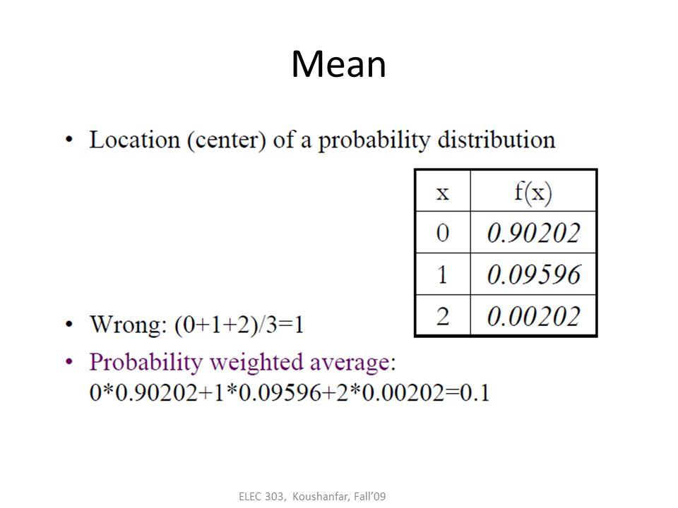 ELEC 303 Koushanfar Fall 09 ELEC 303 – Random Signals Lecture 6