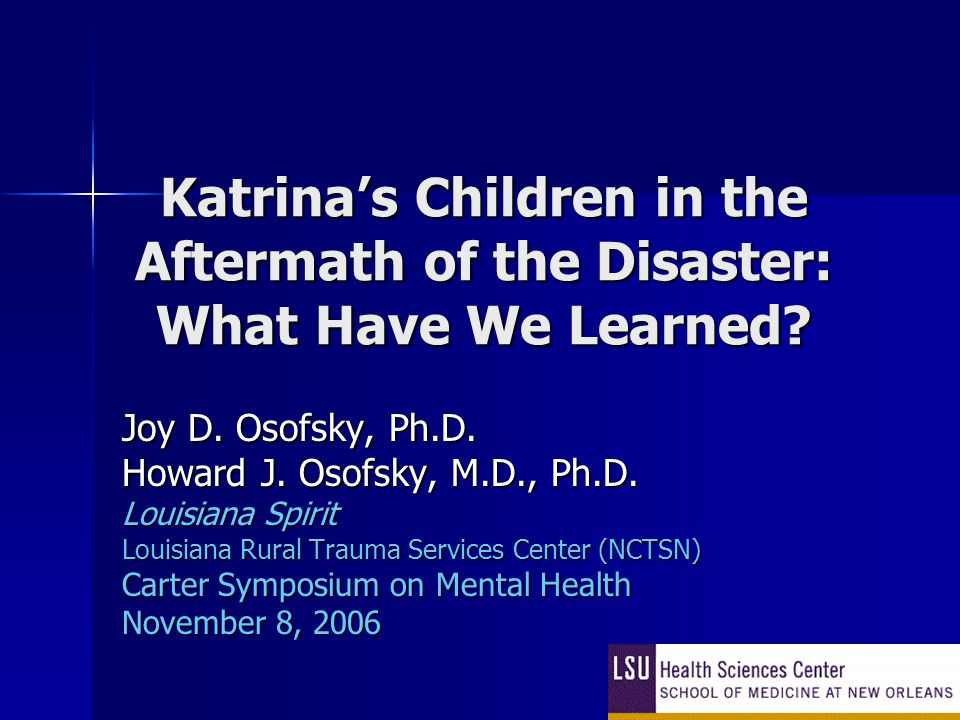 Katrina's Children in the Aftermath of the Disaster: What Have We Learned.
