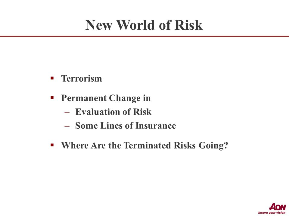  Terrorism  Permanent Change in –Evaluation of Risk –Some Lines of Insurance  Where Are the Terminated Risks Going.