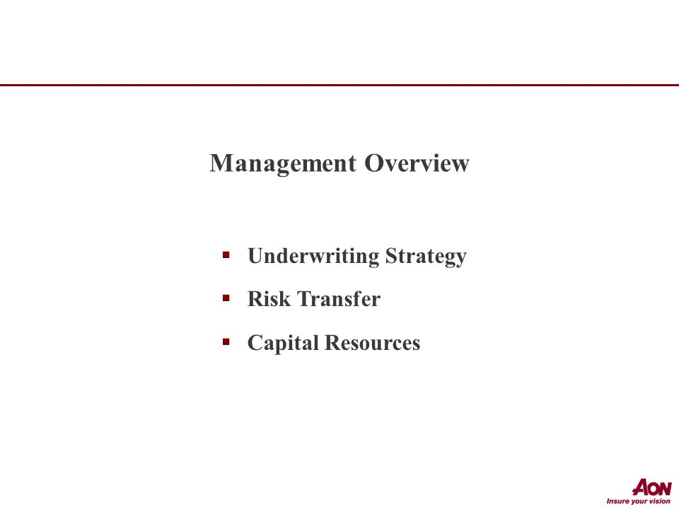  Underwriting Strategy  Risk Transfer  Capital Resources Management Overview