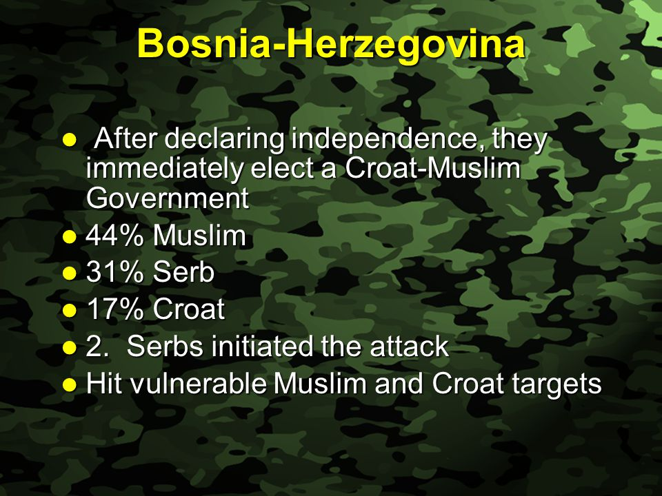 Slide 13 Bosnia-Herzegovina After declaring independence, they immediately elect a Croat-Muslim Government After declaring independence, they immediately elect a Croat-Muslim Government 44% Muslim 44% Muslim 31% Serb 31% Serb 17% Croat 17% Croat 2.
