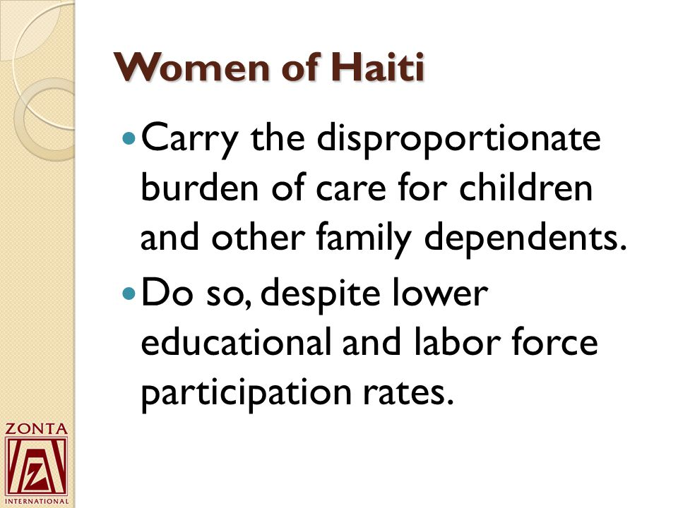 Women of Haiti Carry the disproportionate burden of care for children and other family dependents.