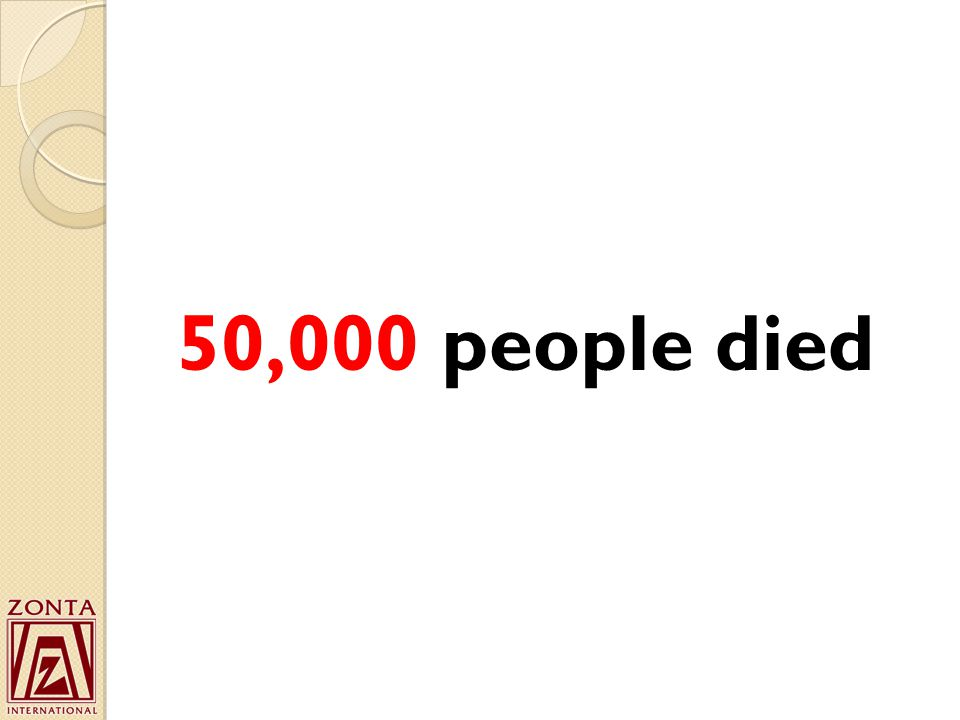 50,000 people died