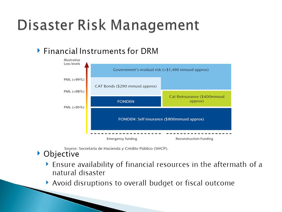 ‣ Financial Instruments for DRM ‣ Objective ‣ Ensure availability of financial resources in the aftermath of a natural disaster ‣ Avoid disruptions to overall budget or fiscal outcome