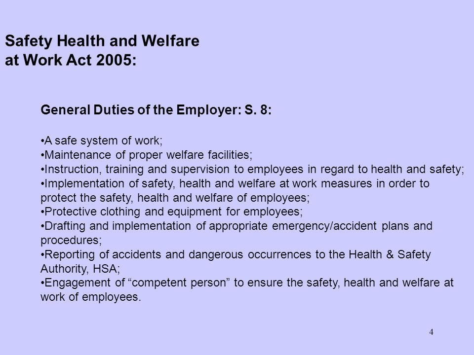 4 General Duties of the Employer: S.