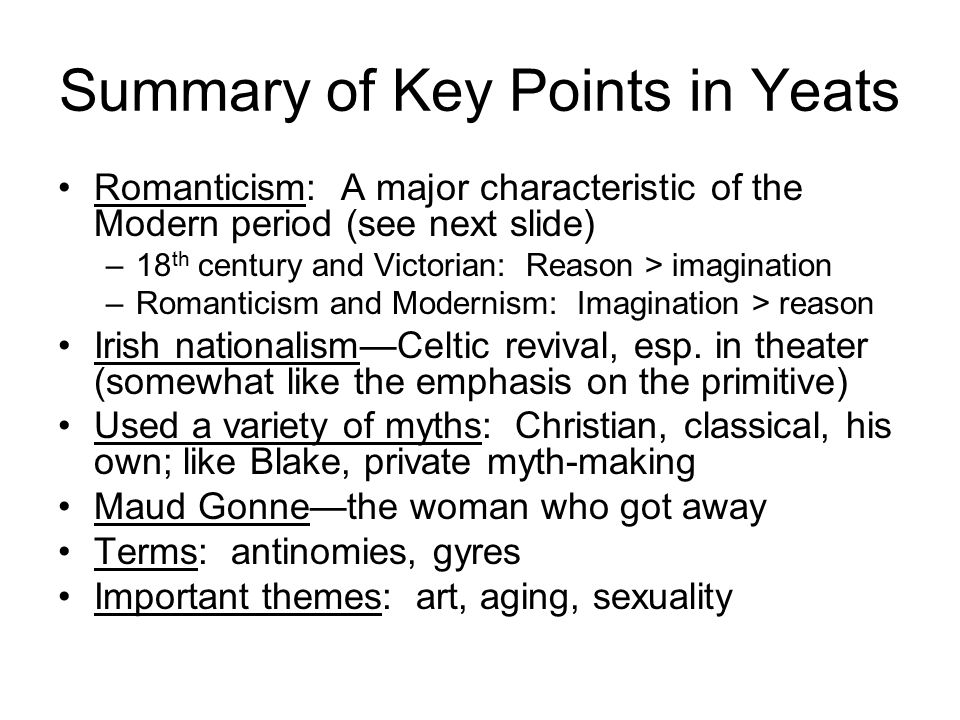 characteristics of wb yeats poetry
