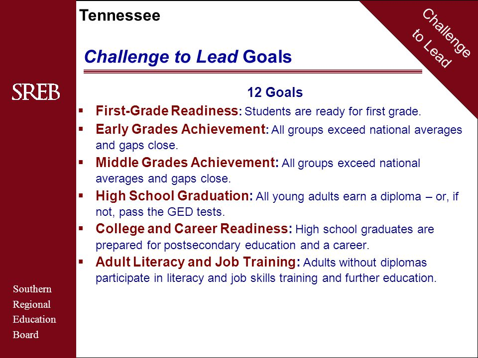 Challenge to Lead Southern Regional Education Board Tennessee Challenge to Lead Goals 12 Goals  First-Grade Readiness : Students are ready for first grade.