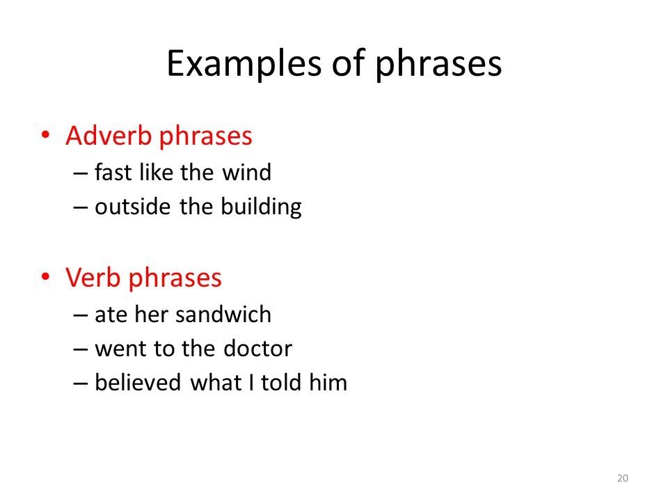 20 Examples of phrases Adverb phrases – fast like the wind – outside the building Verb phrases – ate her sandwich – went to the doctor – believed what I told him