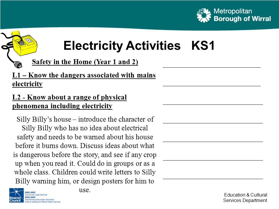 Electricity Activities KS1 Education & Cultural Services Department ...