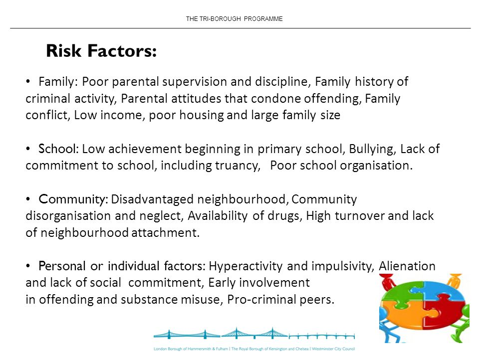 THE TRI-BOROUGH PROGRAMME Risk Factors: Family: Poor parental supervision and discipline, Family history of criminal activity, Parental attitudes that condone offending, Family conflict, Low income, poor housing and large family size School: Low achievement beginning in primary school, Bullying, Lack of commitment to school, including truancy, Poor school organisation.