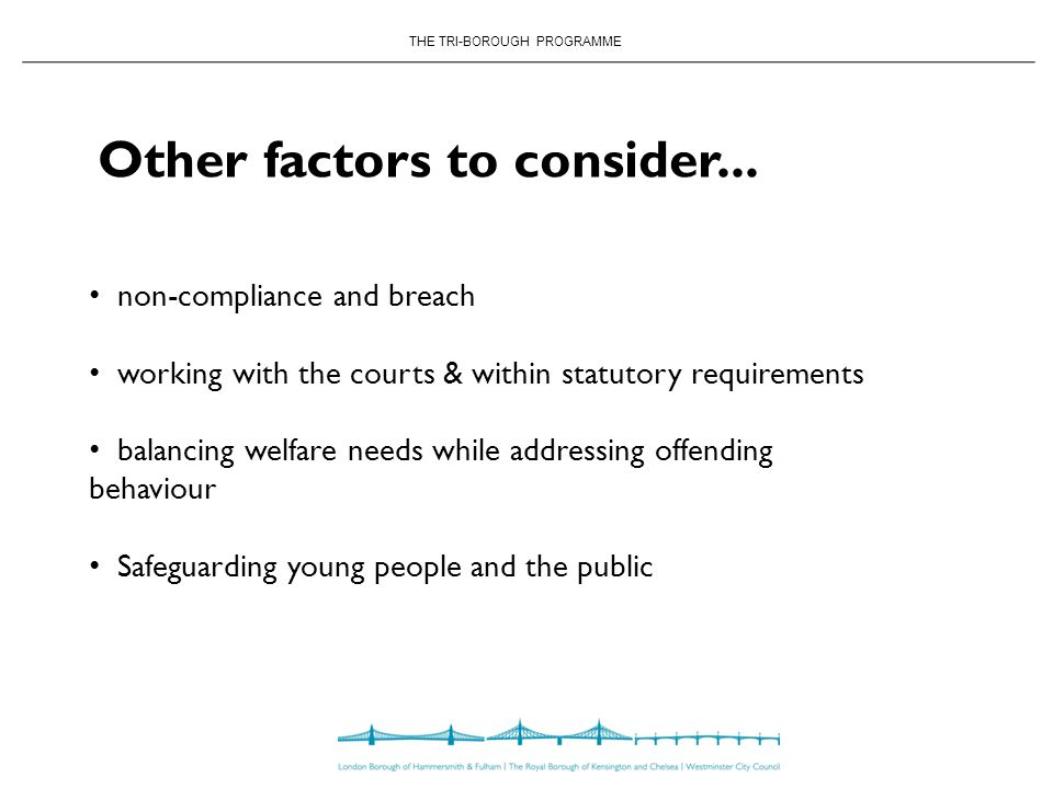 THE TRI-BOROUGH PROGRAMME Other factors to consider...