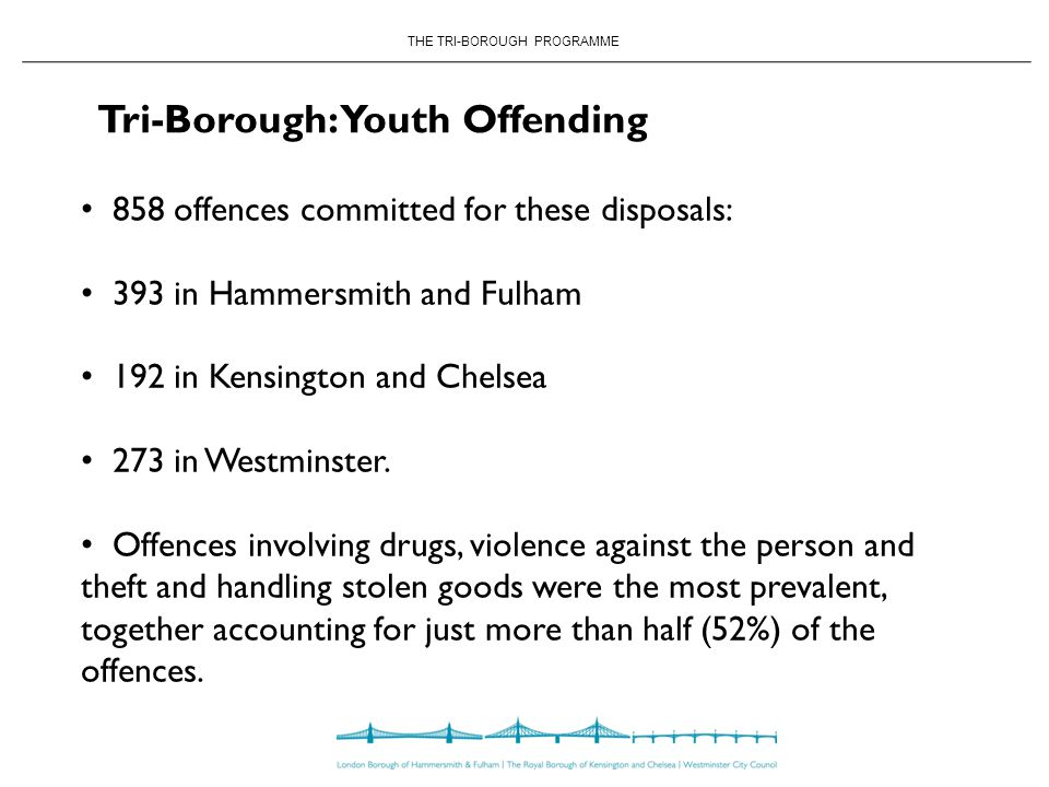 THE TRI-BOROUGH PROGRAMME Tri-Borough: Youth Offending 858 offences committed for these disposals: 393 in Hammersmith and Fulham 192 in Kensington and Chelsea 273 in Westminster.