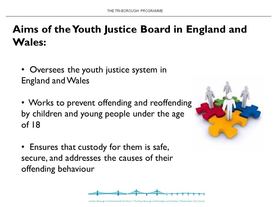 THE TRI-BOROUGH PROGRAMME Aims of the Youth Justice Board in England and Wales: Oversees the youth justice system in England and Wales Works to prevent offending and reoffending by children and young people under the age of 18 Ensures that custody for them is safe, secure, and addresses the causes of their offending behaviour