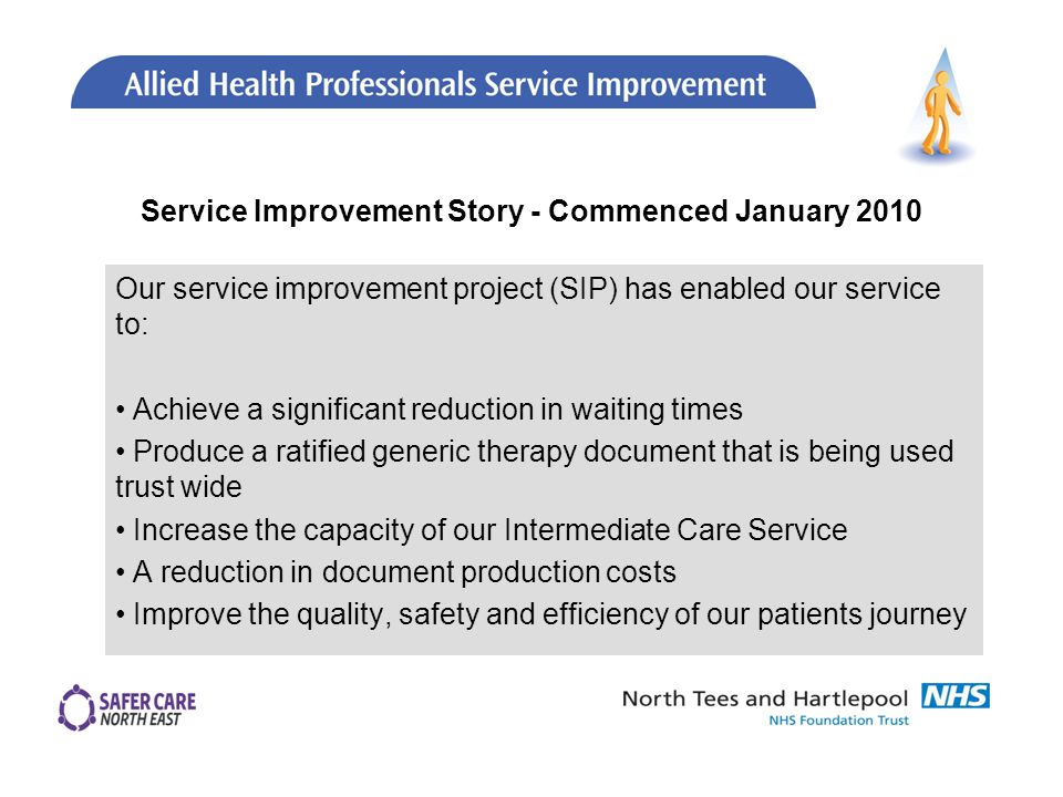 Service Improvement Story - Commenced January 2010 Our service improvement project (SIP) has enabled our service to: Achieve a significant reduction in waiting times Produce a ratified generic therapy document that is being used trust wide Increase the capacity of our Intermediate Care Service A reduction in document production costs Improve the quality, safety and efficiency of our patients journey