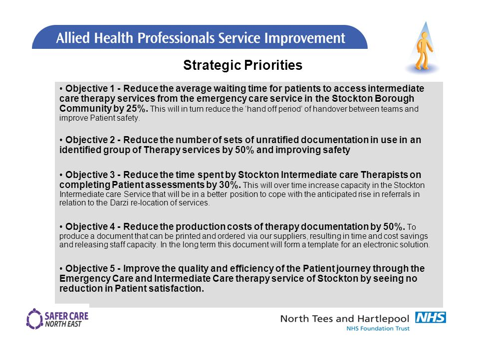 Objective 1 - Reduce the average waiting time for patients to access intermediate care therapy services from the emergency care service in the Stockton Borough Community by 25%.