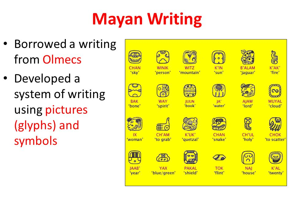 Mayan Writing Borrowed a writing from Olmecs Developed a system of writing using pictures (glyphs) and symbols