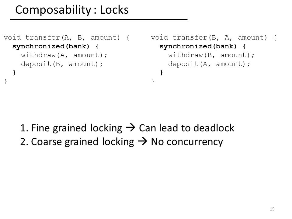 Composability : Locks 15 void transfer(A, B, amount) { synchronized(bank) { withdraw(A, amount); deposit(B, amount); } void transfer(B, A, amount) { synchronized(bank) { withdraw(B, amount); deposit(A, amount); } 1.Fine grained locking  Can lead to deadlock 2.Coarse grained locking  No concurrency