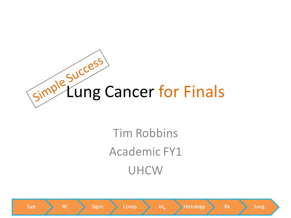 Lung Cancer for Finals SypRFSignsCompInxHistologyRxSurg Simple Success Tim Robbins Academic FY1 UHCW