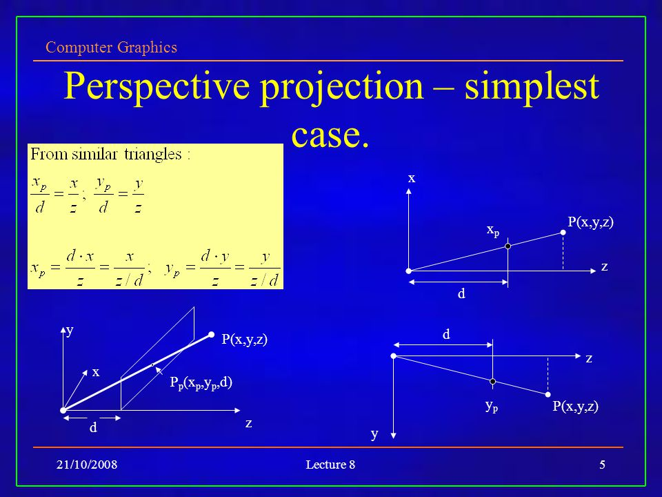 Computer Graphics Lecture 8 Arbitrary Viewing II: More Projection